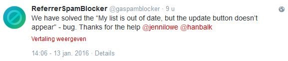 Referrer Spam Blocker Tweet