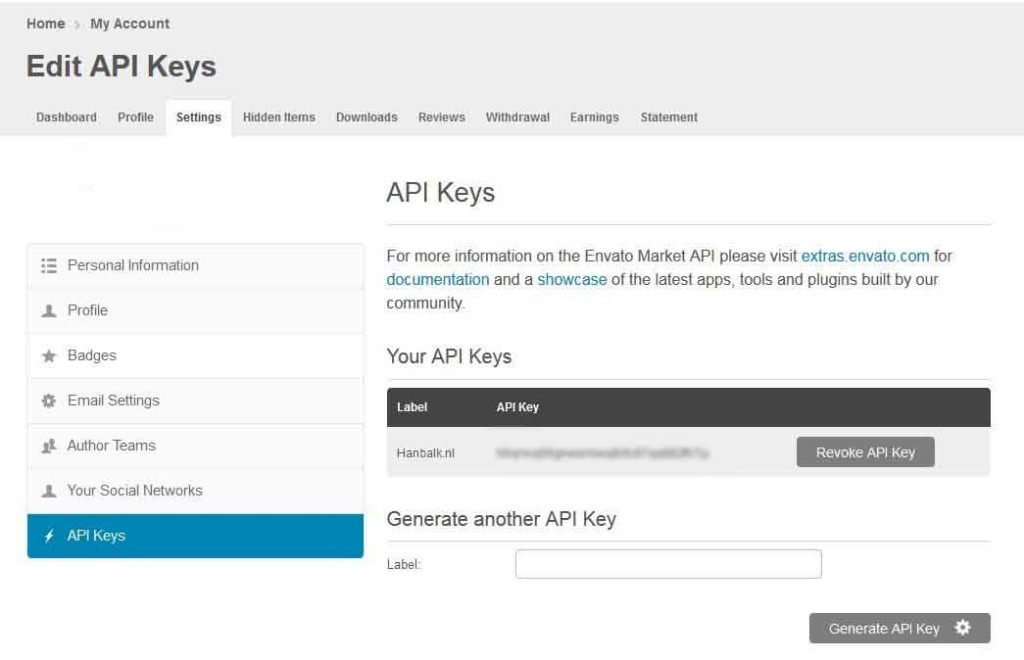 Themeforest Thema updaten API key