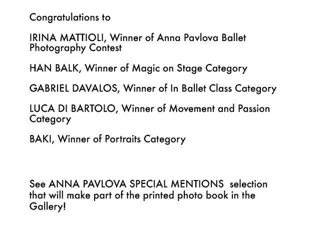 Anna Pavlova 2016 Winners